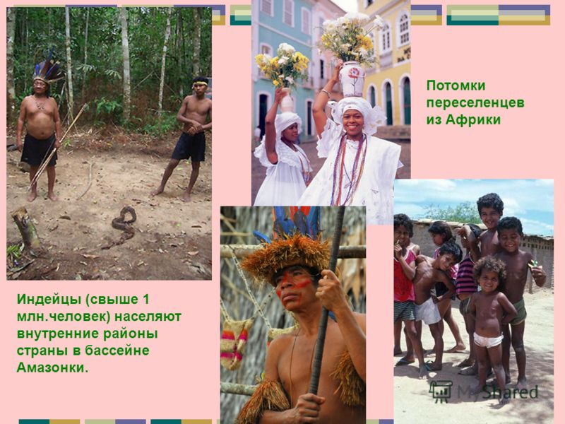 Индейцы (свыше 1 млн.человек) населяют внутренние районы страны в бассейне Амазонки. Потомки переселенцев из Африки
