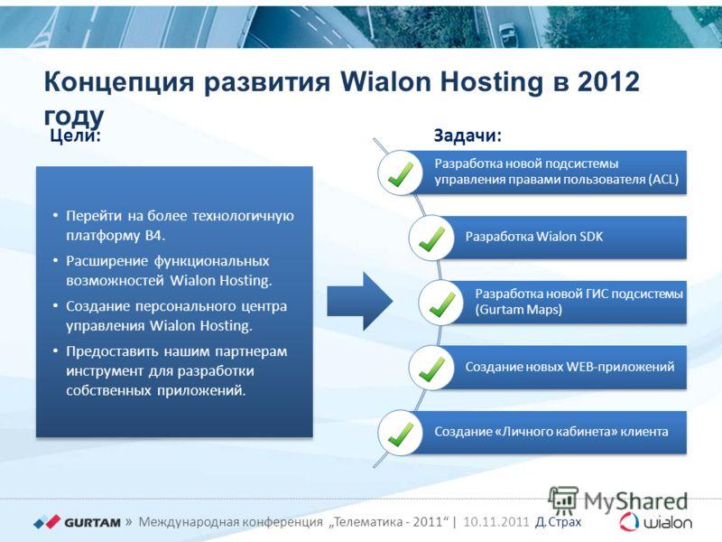 » Международная конференция Телематика - 2011 | 10.11.2011 Д. Страх Концепция развития Wialon Hosting в 2012 году Разработка новой подсистемы управления правами пользователя (ACL) Разработка Wialon SDK Разработка новой ГИС подсистемы (Gurtam Maps) Со