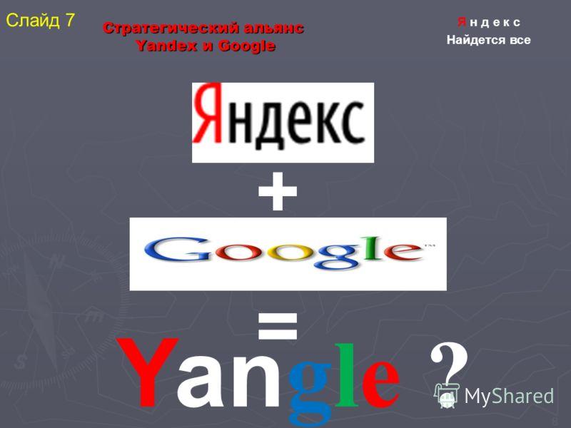 8 Стратегический альянс Yandex и Google + = Yan gle ? Я н д е к с Найдется все Слайд 7