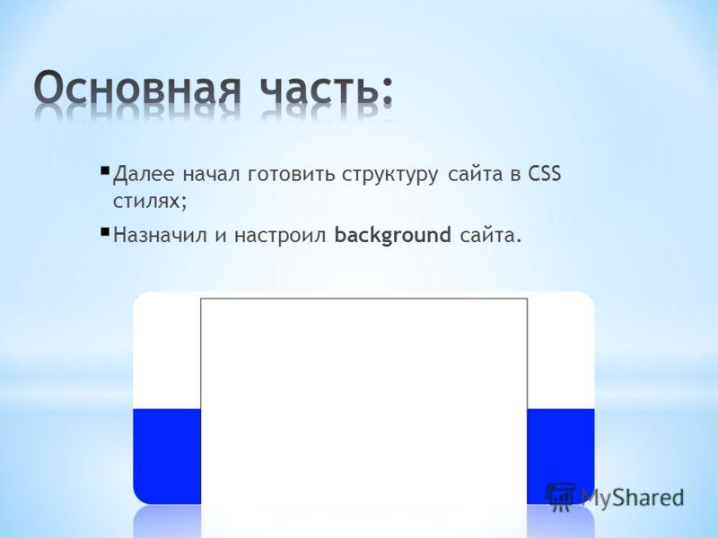 Далее начал готовить структуру сайта в CSS стилях; Назначил и настроил background сайта.