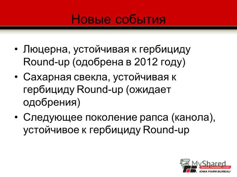 Новые события Люцерна, устойчивая к гербициду Round-up (одобрена в 2012 году) Сахарная свекла, устойчивая к гербициду Round-up (ожидает одобрения) Следующее поколение рапса (канола), устойчивое к гербициду Round-up