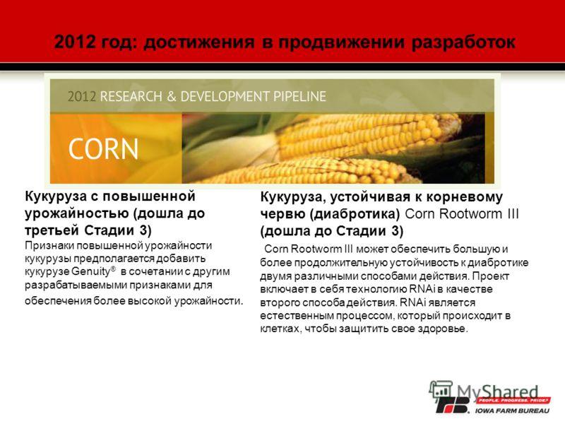 Кукуруза, устойчивая к корневому червю (диабротика) Corn Rootworm III (дошла до Стадии 3) Corn Rootworm III может обеспечить большую и более продолжительную устойчивость к диабротике двумя различными способами действия. Проект включает в себя техноло
