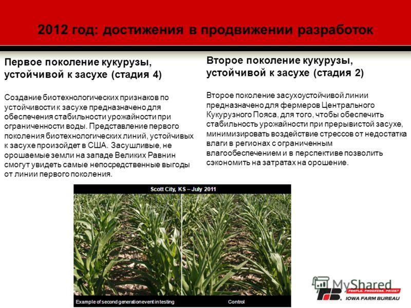 2012 год: достижения в продвижении разработок Первое поколение кукурузы, устойчивой к засухе (стадия 4) Создание биотехнологических признаков по устойчивости к засухе предназначено для обеспечения стабильности урожайности при ограниченности воды. Пре