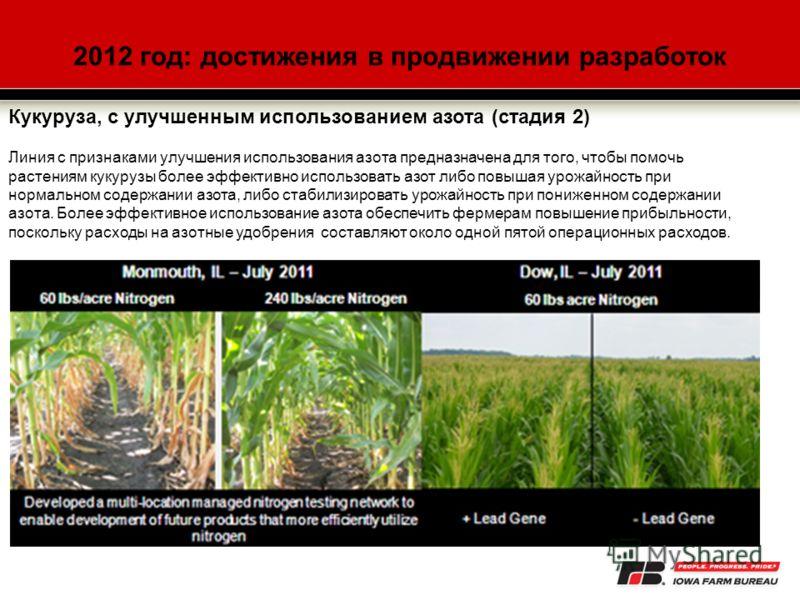 2012 год: достижения в продвижении разработок Кукуруза, с улучшенным использованием азота (стадия 2) Линия с признаками улучшения использования азота предназначена для того, чтобы помочь растениям кукурузы более эффективно использовать азот либо повы