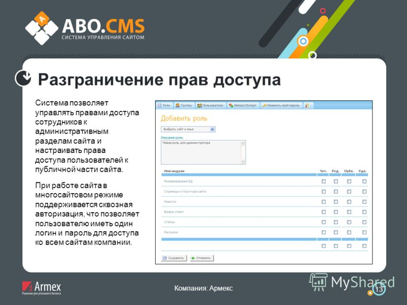 Компания: Армекс 13 Разграничение прав доступа Система позволяет управлять правами доступа сотрудников к административным разделам сайта и настраивать права доступа пользователей к публичной части сайта. При работе сайта в многосайтовом режиме поддер