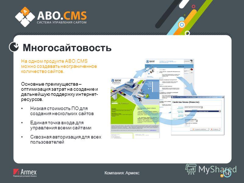Компания: Армекс 14 Многосайтовость На одном продукте ABO.CMS можно создавать неограниченное количество сайтов. Основные преимущества – оптимизация затрат на создание и дальнейшую поддержку интернет- ресурсов. Низкая стоимость ПО для создания несколь