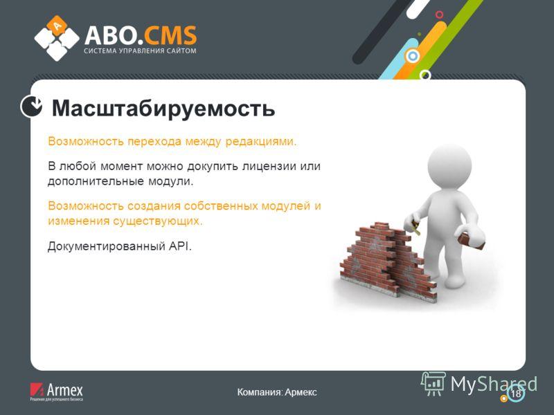 Компания: Армекс 18 Масштабируемость Возможность перехода между редакциями. В любой момент можно докупить лицензии или дополнительные модули. Возможность создания собственных модулей и изменения существующих. Документированный API.