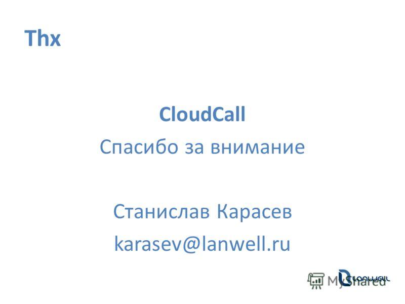 Thx CloudCall Спасибо за внимание Станислав Карасев karasev@lanwell.ru