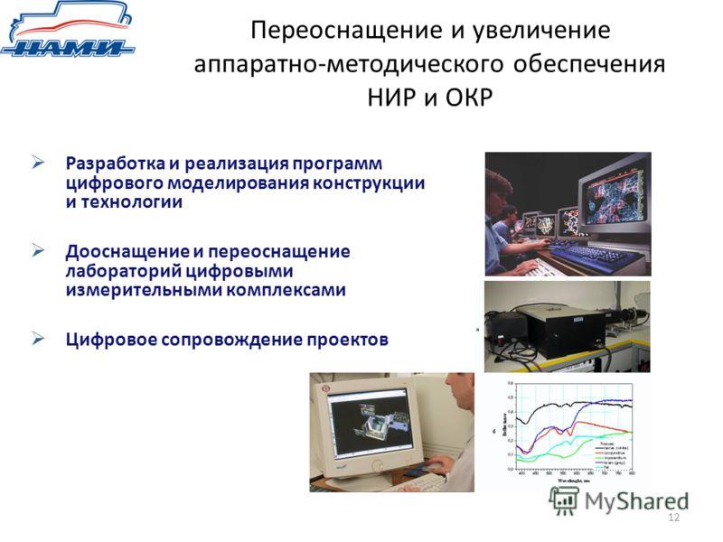 Переоснащение и увеличение аппаратно-методического обеспечения НИР и ОКР 12 Разработка и реализация программ цифрового моделирования конструкции и технологии Дооснащение и переоснащение лабораторий цифровыми измерительными комплексами Цифровое сопров