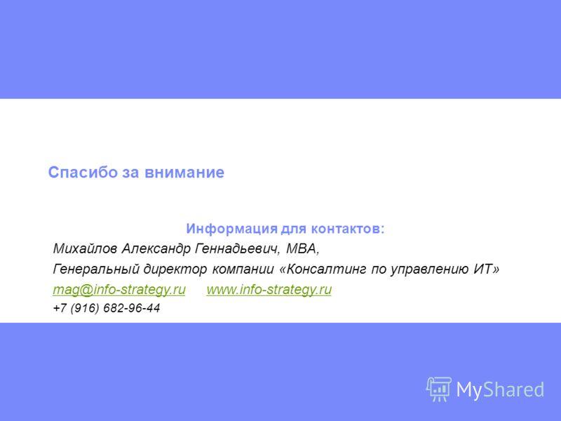 Спасибо за внимание Информация для контактов: Михайлов Александр Геннадьевич, MBA, Генеральный директор компании «Консалтинг по управлению ИТ» mag@info-strategy.rumag@info-strategy.ru www.info-strategy.ruwww.info-strategy.ru +7 (916) 682-96-44