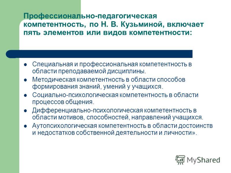 Профессионально-педагогическая компетентность, по Н. В. Кузьминой, включает пять элементов или видов компетентности: Специальная и профессиональная компетентность в области преподаваемой дисциплины. Методическая компетентность в области способов форм