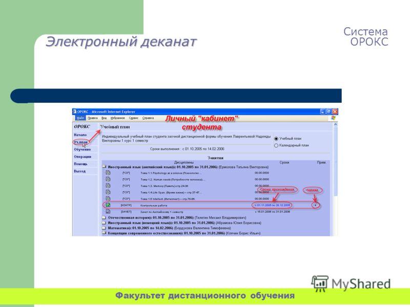 Электронный деканат Система ОРОКС Факультет дистанционного обучения