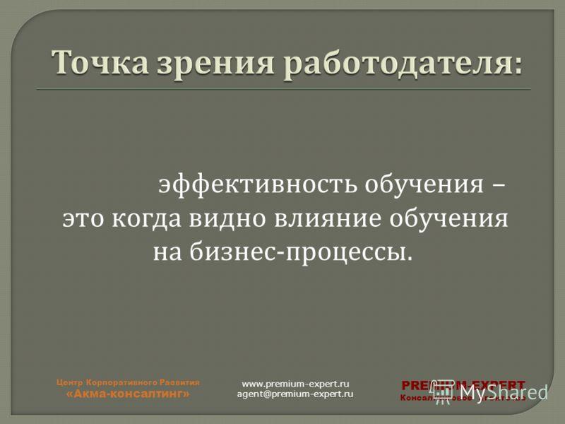 эффективность обучения – это когда видно влияние обучения на бизнес - процессы. Центр Корпоративного Развития «Акма-консалтинг» PREMIUM-EXPERT Консалтинговое агентство www.premium-expert.ru agent@premium-expert.ru