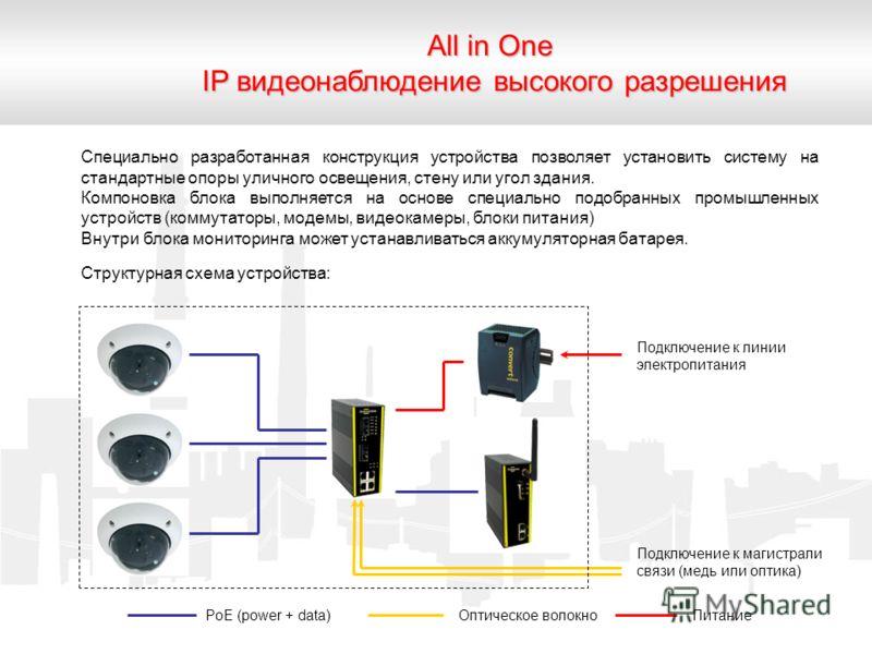 All in One IP видеонаблюдение высокого разрешения Специально разработанная конструкция устройства позволяет установить систему на стандартные опоры уличного освещения, стену или угол здания. Компоновка блока выполняется на основе специально подобранн