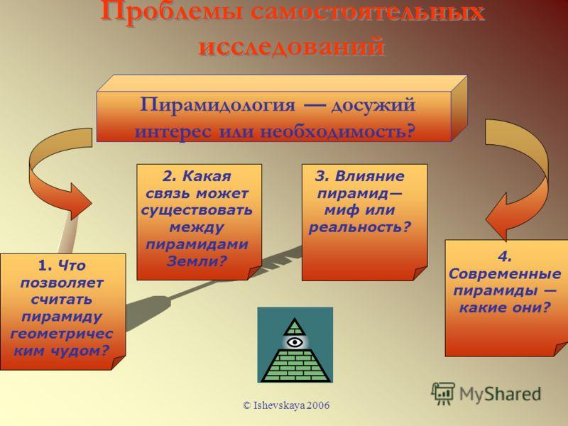 © Ishevskaya 2006 Проблемы самостоятельных исследований Пирамидология досужий интерес или необходимость? 2. Какая связь может существовать между пирамидами Земли? 3. Влияние пирамид миф или реальность? 4. Современные пирамиды какие они? 1. Что позвол