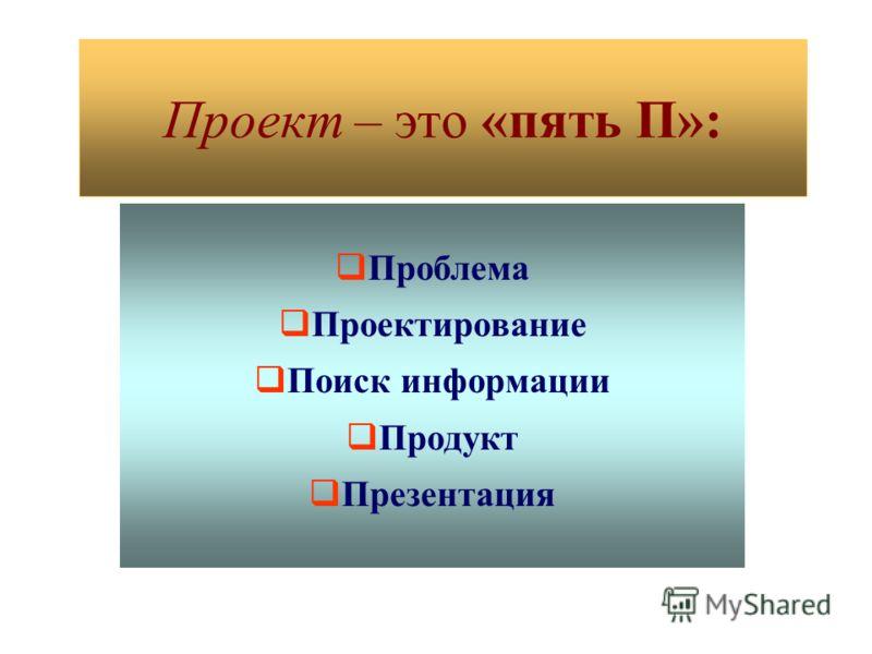 Проект – это «пять П»: Проблема Проектирование Поиск информации Продукт Презентация