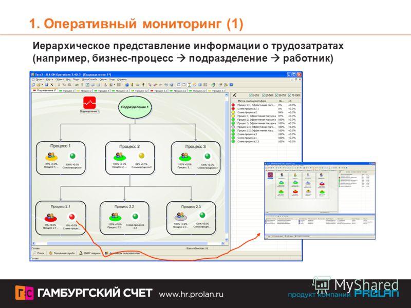 1. Оперативный мониторинг (1) Иерархическое представление информации о трудозатратах (например, бизнес-процесс подразделение работник)