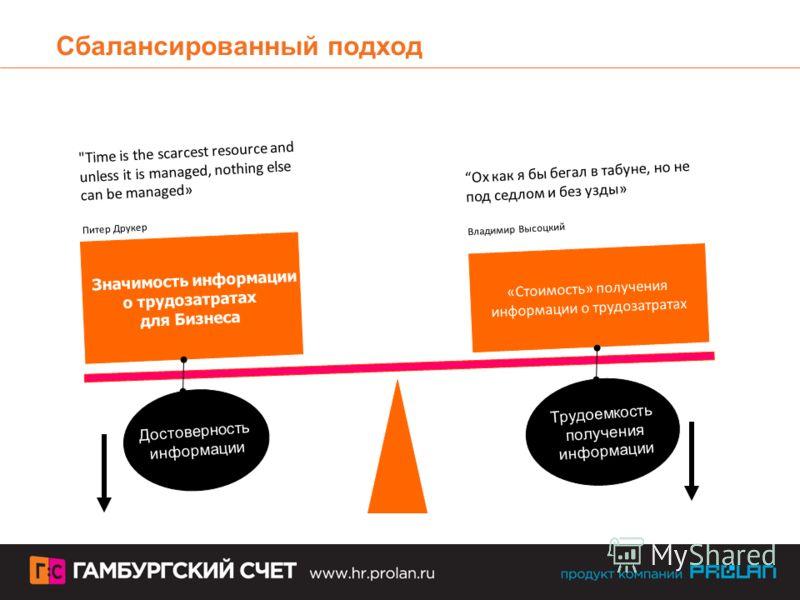Сбалансированный подход Значимость информации о трудозатратах для Бизнеса «Стоимость» получения информации о трудозатратах