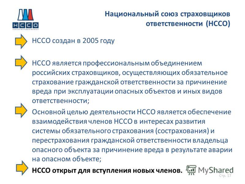 НССО создан в 2005 году НССО является профессиональным объединением российских страховщиков, осуществляющих обязательное страхование гражданской ответственности за причинение вреда при эксплуатации опасных объектов и иных видов ответственности; Основ
