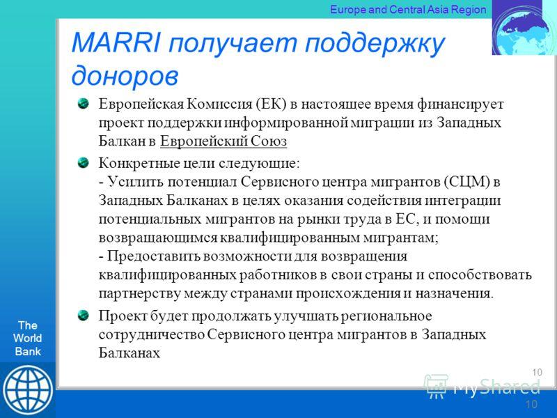 The World Bank RLT Workshop, Kiev 10 Europe and Central Asia Region The World Bank 10 MARRI получает поддержку доноров Европейская Комиссия (ЕК) в настоящее время финансирует проект поддержки информированной миграции из Западных Балкан в Европейский
