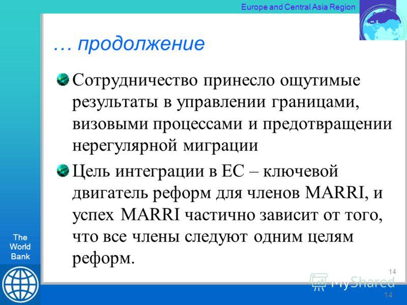 The World Bank RLT Workshop, Kiev 14 Europe and Central Asia Region The World Bank 14 … продолжение Сотрудничество принесло ощутимые результаты в управлении границами, визовыми процессами и предотвращении нерегулярной миграции Цель интеграции в ЕС –