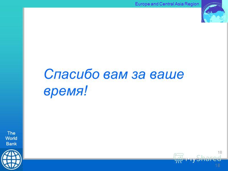 The World Bank RLT Workshop, Kiev 18 Europe and Central Asia Region The World Bank 18 Спасибо вам за ваше время! 18