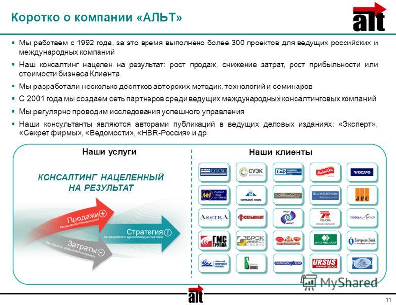 11 Коротко о компании «АЛЬТ» Мы работаем с 1992 года, за это время выполнено более 300 проектов для ведущих российских и международных компаний Наш консалтинг нацелен на результат: рост продаж, снижение затрат, рост прибыльности или стоимости бизнеса