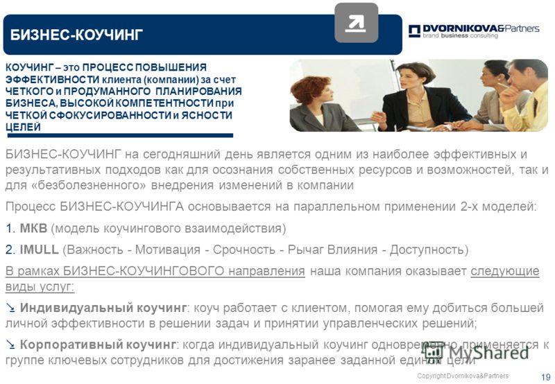 Copyright Dvornikova&Partners 19 БИЗНЕС-КОУЧИНГ БИЗНЕС-КОУЧИНГ на сегодняшний день является одним из наиболее эффективных и результативных подходов как для осознания собственных ресурсов и возможностей, так и для «безболезненного» внедрения изменений