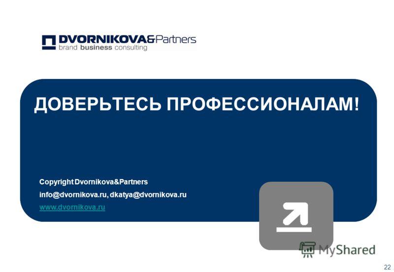 22 ДОВЕРЬТЕСЬ ПРОФЕССИОНАЛАМ! Copyright Dvornikova&Рartners info@dvornikova.ru, dkatya@dvornikova.ru www.dvornikova.ru