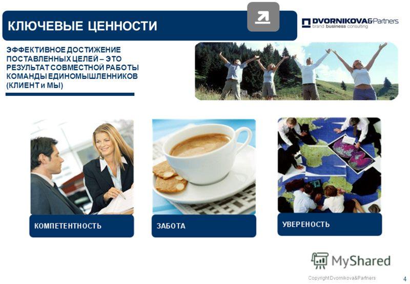 Copyright Dvornikova&Partners 4 КЛЮЧЕВЫЕ ЦЕННОСТИ ЭФФЕКТИВНОЕ ДОСТИЖЕНИЕ ПОСТАВЛЕННЫХ ЦЕЛЕЙ – ЭТО РЕЗУЛЬТАТ СОВМЕСТНОЙ РАБОТЫ КОМАНДЫ ЕДИНОМЫШЛЕННИКОВ (КЛИЕНТ и МЫ)