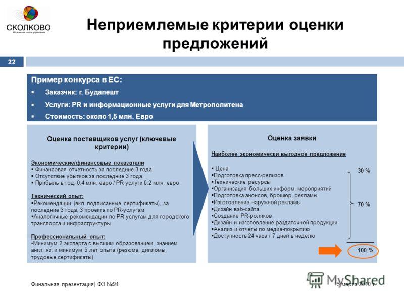15 марта 2010 г.Финальная презентация| ФЗ 94 22 Пример конкурса в ЕС: Заказчик: г. Будапешт Услуги: PR и информационные услуги для Метрополитена Стоимость: около 1,5 млн. Евро Оценка поставщиков услуг (ключевые критерии) Экономические/финансовые пока