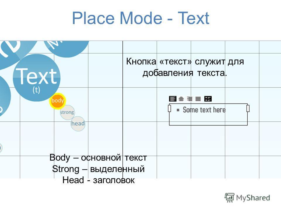 Place Mode - Text Body – основной текст Strong – выделенный Head - заголовок Кнопка «текст» служит для добавления текста.