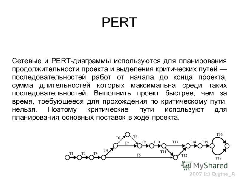 PERT Сетевые и PERT-диаграммы используются для планирования продолжительности проекта и выделения критических путей последовательностей работ от начала до конца проекта, сумма длительностей которых максимальна среди таких последовательностей. Выполни