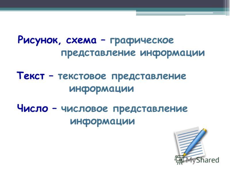 Рисунок, схема – графическое представление информации Текст – текстовое представление информации Число – числовое представление информации