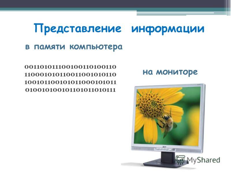 Представление информации в памяти компьютера на мониторе 001101011100100110100110 110001010110011001010110 100101100101011000101011 010010100101101011010111