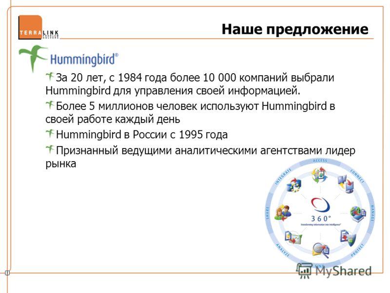 Наше предложение За 20 лет, с 1984 года более 10 000 компаний выбрали Hummingbird для управления своей информацией. Более 5 миллионов человек используют Hummingbird в своей работе каждый день Hummingbird в России с 1995 года Признанный ведущими анали