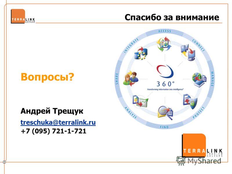 Спасибо за внимание Вопросы? Андрей Трещук treschuka@terralink.ru +7 (095) 721-1-721