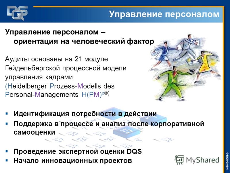 DQS-UL Management Systems Solutions © © DQS GmbH Управление персоналом – ориентация на человеческий фактор Аудиты основаны на 21 модуле Гейдельбергской процессной модели управления кадрами (Heidelberger Prozess-Modells des Personal-Managements H(PM)²