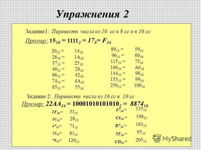 Перевод чисел из 2 сс в 10 сс ? Человек обрабатывает информацию в 10 сс, а компьютер в 2 сс. Существует правило перевода чисел из одной СС в другую. Например переведем 11001 из 2сс в 10 сс. 2 способ: Для того чтобы перевести число из 2 СС в 10 СС вос