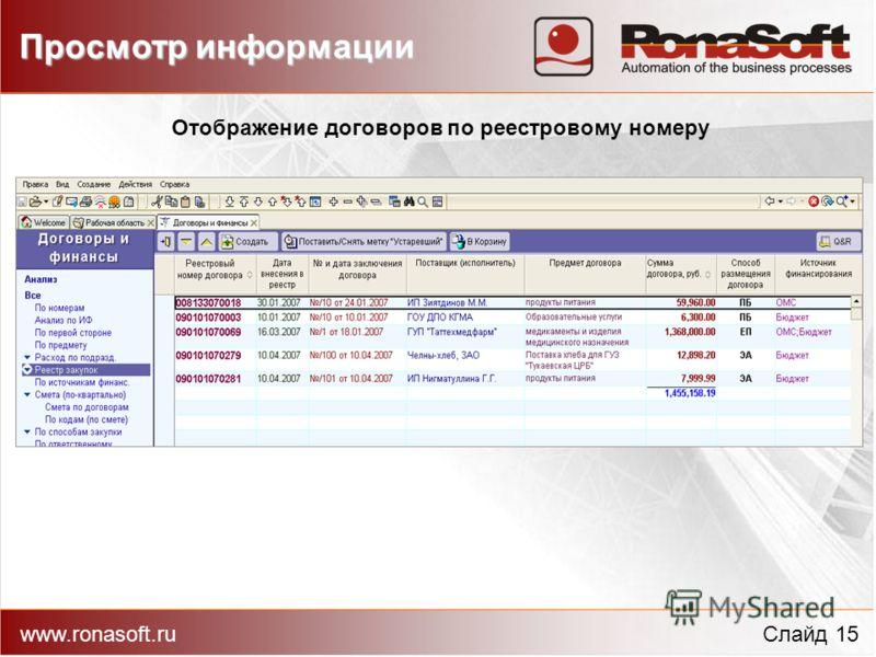 Отображение договоров по реестровому номеру www.ronasoft.ruСлайд 15 Просмотр информации
