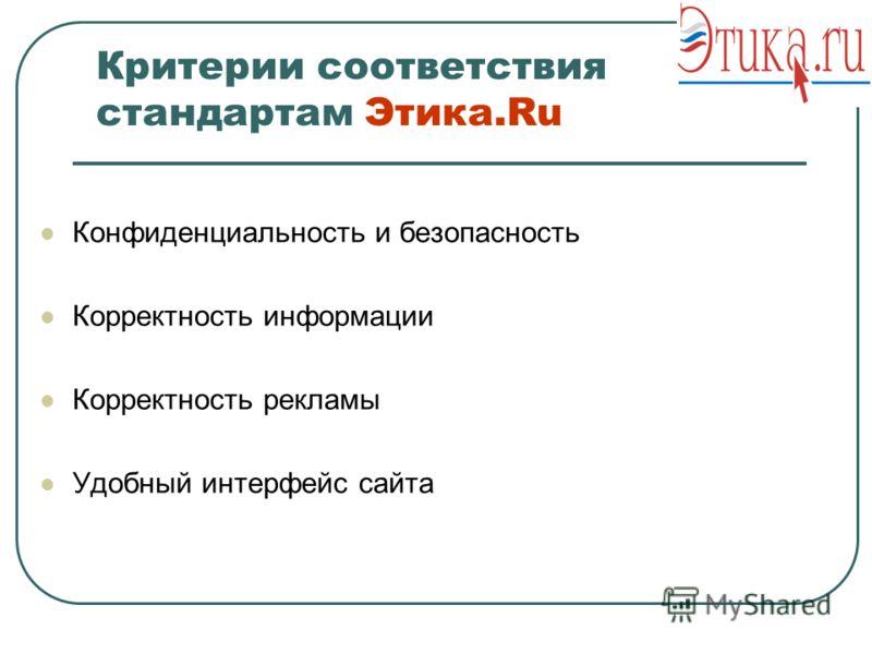 Критерии соответствия стандартам Этика.Ru Конфиденциальность и безопасность Корректность информации Корректность рекламы Удобный интерфейс сайта