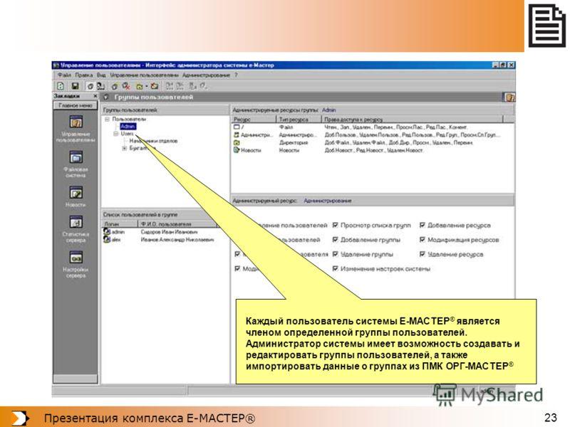 Презентация комплекса Е-МАСТЕР® 23 Каждый пользователь системы Е-МАСТЕР ® является членом определенной группы пользователей. Администратор системы имеет возможность создавать и редактировать группы пользователей, а также импортировать данные о группа