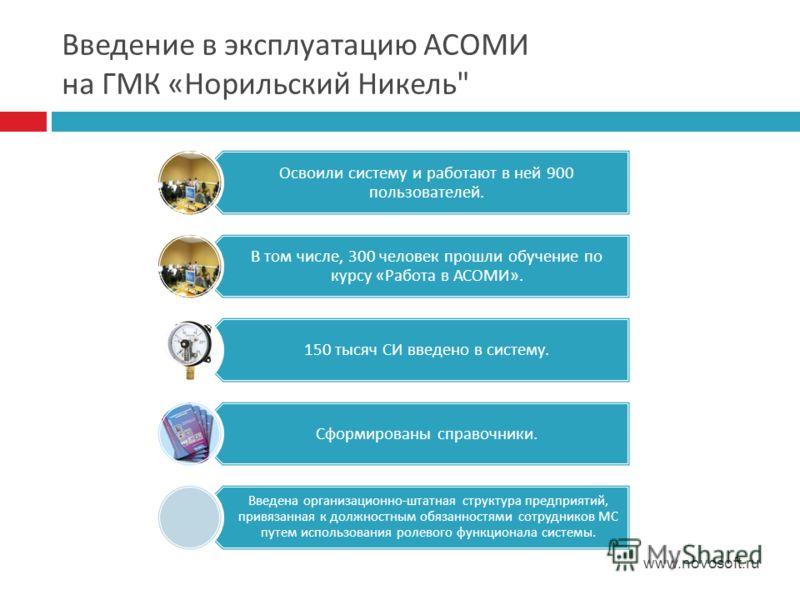 Введение в эксплуатацию АСОМИ на ГМК « Норильский Никель