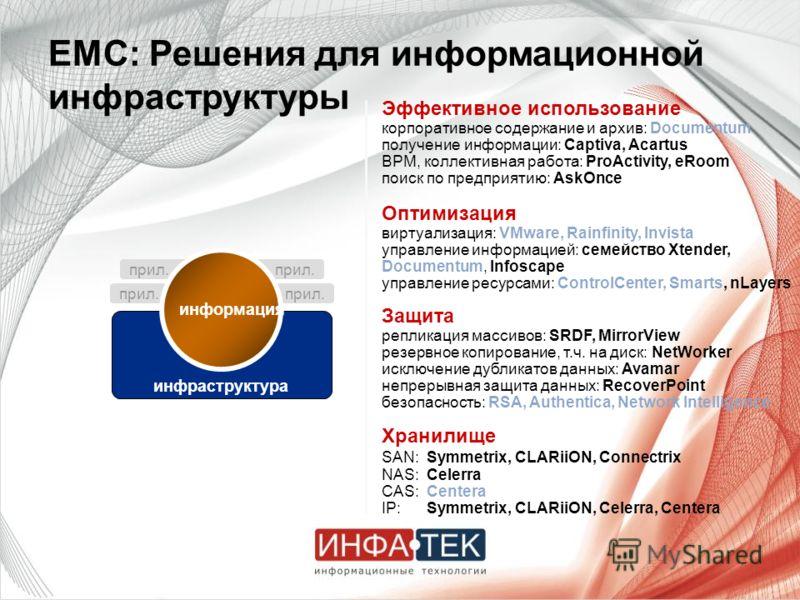Хранилище SAN:Symmetrix, CLARiiON, Connectrix NAS:Celerra CAS:Centera IP:Symmetrix, CLARiiON, Celerra, Centera Защита репликация массивов: SRDF, MirrorView резервное копирование, т.ч. на диск: NetWorker исключение дубликатов данных: Avamar непрерывна
