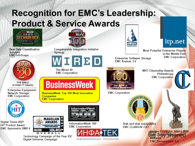 The Wired 40 EMC Corporation Best Data Classification Solution EMC InfoScape InformationWeek 500 EMC Corporation Enterprise Software Storage EMC Avamar 3.6 EMC Corporation Companywide Integration Initiative Synergy Technology Campaign of the Year IDC