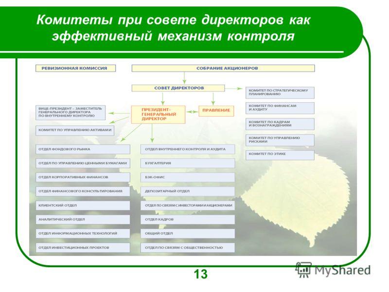 Комитеты при совете директоров как эффективный механизм контроля 8 13