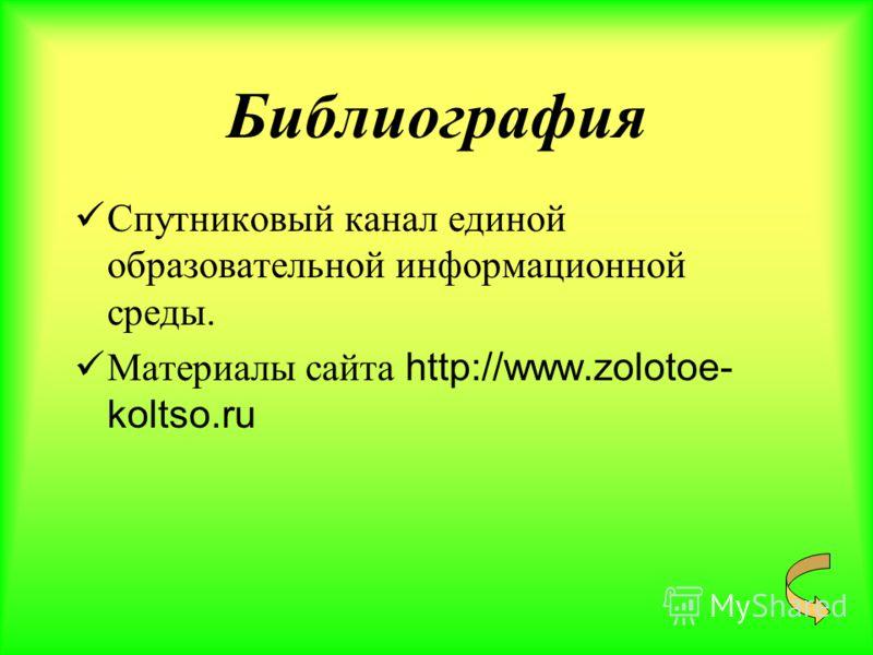 Библиография Спутниковый канал единой образовательной информационной среды. Материалы сайта http://www.zolotoe- koltso.ru