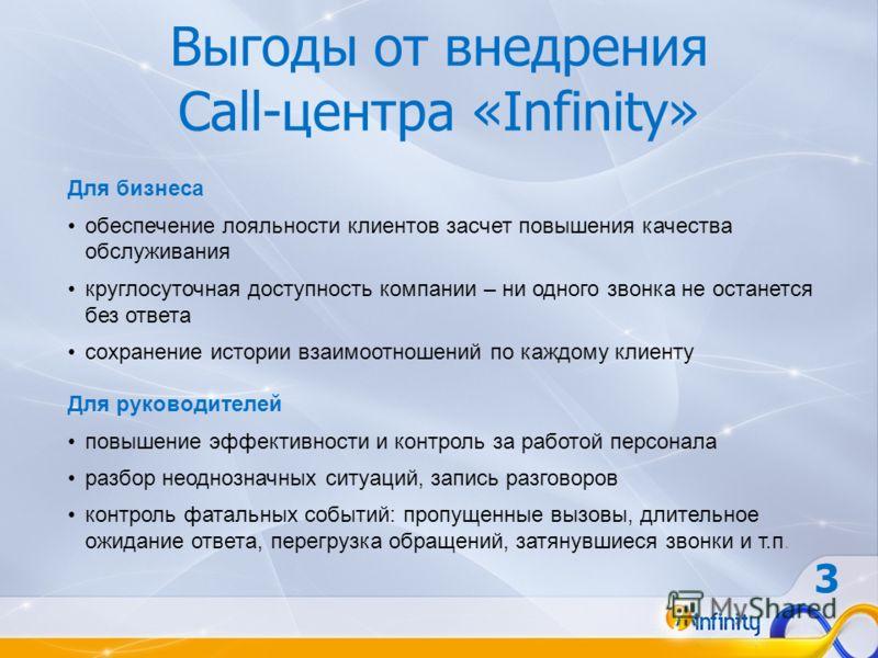 Выгоды от внедрения Call-центра «Infinity» Для бизнеса обеспечение лояльности клиентов засчет повышения качества обслуживания круглосуточная доступность компании – ни одного звонка не останется без ответа сохранение истории взаимоотношений по каждому