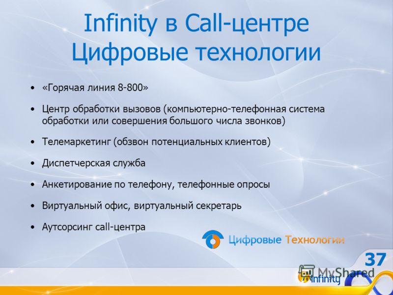 Infinity в Call-центре Цифровые технологии «Горячая линия 8-800» Центр обработки вызовов (компьютерно-телефонная система обработки или совершения большого числа звонков) Телемаркетинг (обзвон потенциальных клиентов) Диспетчерская служба Анкетирование