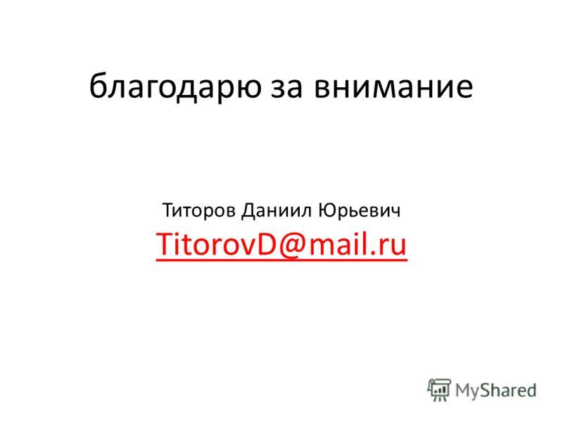Титоров Даниил Юрьевич TitorovD@mail.ru благодарю за внимание